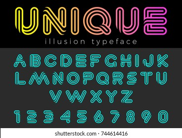 Linear Illusion vector Font for Title, Header, Lettering, Logo. Funny Entertainment Active Sport Technology areas Typeface. Letters and Numbers.