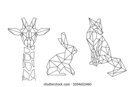 linear illustration - animals. giraffe, hare and fox