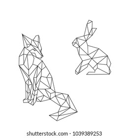 linear illustration - animals. hare and fox