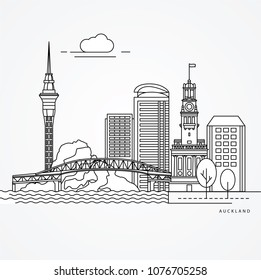 Linear illustration of Auckland, New Zealand. Flat one line style. Trendy vector illustration. Architecture line cityscape with famous landmarks, city sights, design icons. Editable strokes