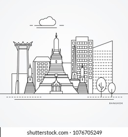 Linear illustration of Bangkok, Thailand. Flat one line style. Trendy vector illustration. Architecture line cityscape with famous landmarks, city sights, design icons. Editable strokes