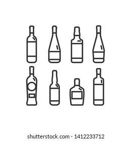 Linear illustration of a bottle of alcohol