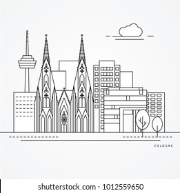 Linear illustration of Cologne, Germany. Flat one line style. Trendy vector illustration. Architecture line cityscape with famous landmarks, city sights, design icons. Editable strokes