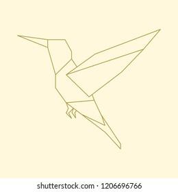 Linear illustration of a flying bird