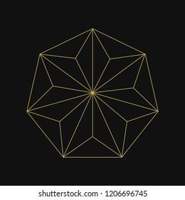 Linear illustration of a geometric shape