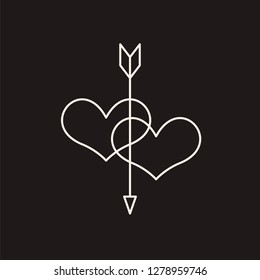 Linear illustration of an icon of two hearts pierced by an arrow, hearts and arrow, love between a man and a woman, fall in love, Valentine's Day, love, a holiday of love on a black background