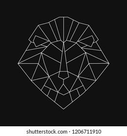 Linear illustration of a lion's head