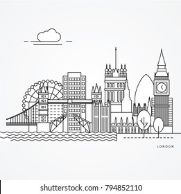 Linear illustration of London, UK. Flat one line style. Trendy vector illustration. Architecture line cityscape with famous landmarks, city sights, design icons. Editable strokes
