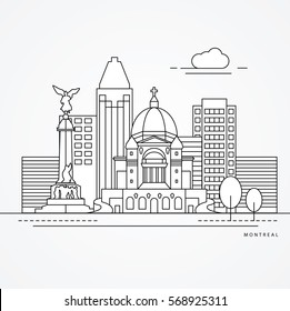 Linear illustration of Montreal, Canada. Flat one line style. Trendy vector illustration, Greatest landmark - St Joseph Oratory
