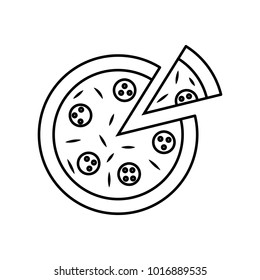 Linear illustration of a pizza icon, italian pizza, salami, cheese, round pizza, slice of pizza, bacon, food on a white background.