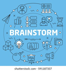 Linear illustration for presentations on blue background brainstorm