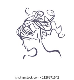 Linear illustration profile of a female head with a deliberately careless hairdo. Curly hair. Modern hair style.