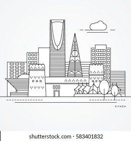 Linear illustration of Riyadh, Saudi Arabia. Flat one line style. Trendy vector illustration