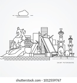 Linear illustration of Saint Petersburg, Russia. Flat one line style. Trendy vector illustration. Architecture line cityscape with famous landmarks, city sights, design icons. Editable strokes