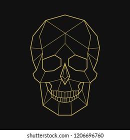 Linear illustration of a skull