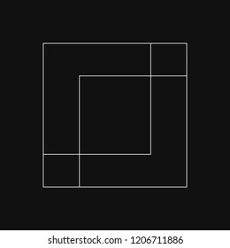Linear illustration of a square block