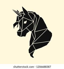 Linear illustration of a unicorn