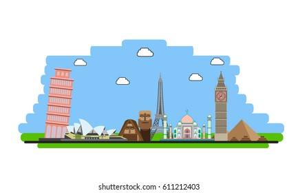 Linear illustration of World Landmarks Vector