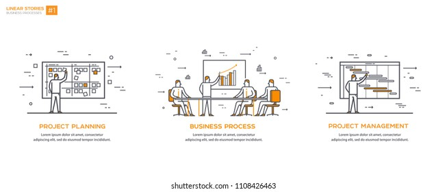 Linear Illustrations Business processes