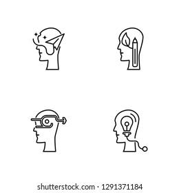 Linear Imagination, Initiative, Creativity, Idea Vector Illustration Of 4 outline Icons. Editable Pack Of Imagination, Initiative, Creativity, Idea