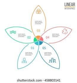 Linear infographics. Business diagram, chart, graph with 5 petals. Vector design element.