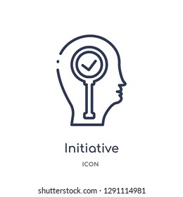 Linear initiative icon from Brain process outline collection. Thin line initiative vector isolated on white background. initiative trendy illustration