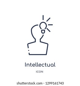 Linear intellectual property icon from Law and justice outline collection. Thin line intellectual property icon isolated on white background. intellectual property trendy illustration
