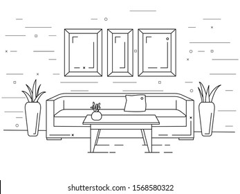 Linear interior. Sofa, table, plants. Vector illustration in a linear style.
