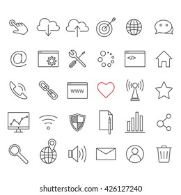 Linear internet icons set. Universal internet icon to use in web and mobile UI. Internet icons sign.