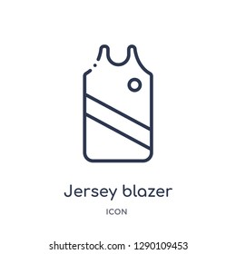 Linear jersey blazer icon from Clothes outline collection. Thin line jersey blazer vector isolated on white background. jersey blazer trendy illustration