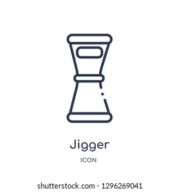 Linear jigger icon from Drinks outline collection. Thin line jigger icon vector isolated on white background. jigger trendy illustration