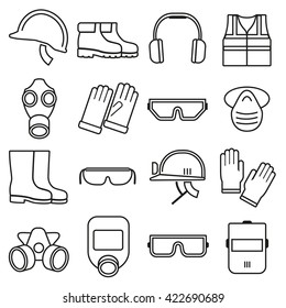Linear job safety equipment icons set helmet  industry. Vector illustration