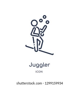 Linear juggler icon from Magic outline collection. Thin line juggler icon isolated on white background. juggler trendy illustration