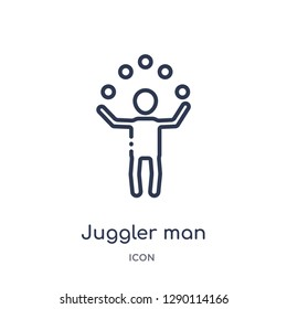Linear juggler man icon from Circus outline collection. Thin line juggler man vector isolated on white background. juggler man trendy illustration