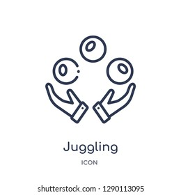 Linear juggling icon from Circus outline collection. Thin line juggling vector isolated on white background. juggling trendy illustration