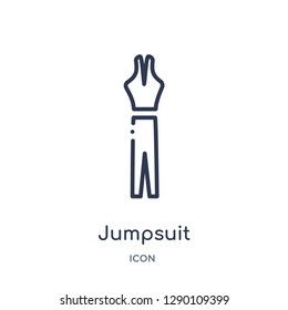 Linear jumpsuit icon from Clothes outline collection. Thin line jumpsuit vector isolated on white background. jumpsuit trendy illustration