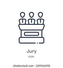 Linear jury icon from Law and justice outline collection. Thin line jury icon isolated on white background. jury trendy illustration