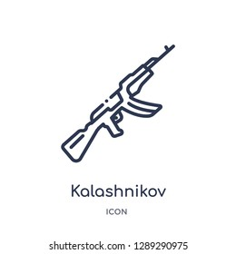 Linear kalashnikov icon from Army and war outline collection. Thin line kalashnikov vector isolated on white background. kalashnikov trendy illustration