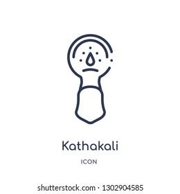 Linear kathakali icon from India outline collection. Thin line kathakali icon isolated on white background. kathakali trendy illustration