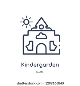 Linear kindergarden icon from Kid and baby outline collection. Thin line kindergarden icon isolated on white background. kindergarden trendy illustration