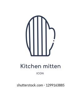 Linear kitchen mitten icon from Kitchen outline collection. Thin line kitchen mitten icon isolated on white background. kitchen mitten trendy illustration