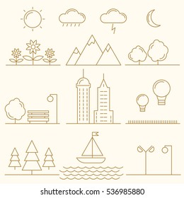 Linear landscape elements vector icons set. Line trees, flowers, mountains, water waves, cloud, bench, air balloon, building, ship. Design set graphic outline illustration.