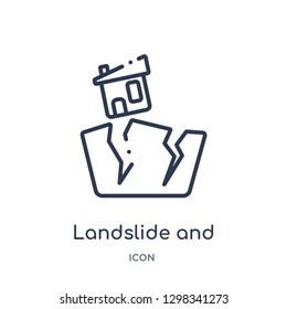Linear landslide and house icon from Meteorology outline collection. Thin line landslide and house icon isolated on white background. landslide and house trendy illustration