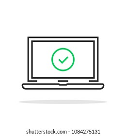 linear laptop with green check mark. concept of okay system update process or privacy control support. simple stroke flat style trend modern logo graphic line art design isolated on white background