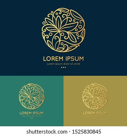 Linear leaf emblem in a circle shape. Can be used as monogram and logo. Luxury vintage vector template with elegant elements. Great for wallpaper or background decoration.