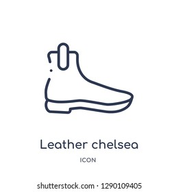 Linear leather chelsea boots icon from Clothes outline collection. Thin line leather chelsea boots vector isolated on white background. leather chelsea boots trendy illustration