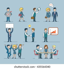 Linear line art flat style business people figures icons. Web template vector icon set. Lifestyle situations icons. Marketing target chat message talk banner hands handshake party report presentation.