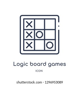Linear logic board games icon from Entertainment outline collection. Thin line logic board games icon isolated on white background. logic board games trendy illustration