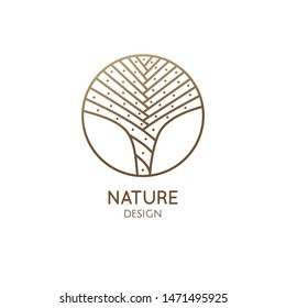 Linear logo succulent, great design for any purposes. Vector flower icon. Business yoga concept. Cactus blossom flower. Circle leaf tree vector icon logo. Garden tropical plant. Mexican desert cactus.