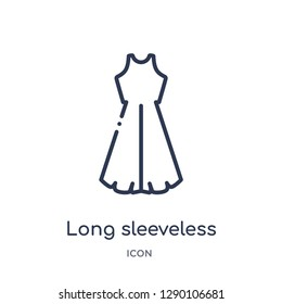 Linear long sleeveless dress icon from Clothes outline collection. Thin line long sleeveless dress vector isolated on white background. long sleeveless dress trendy illustration